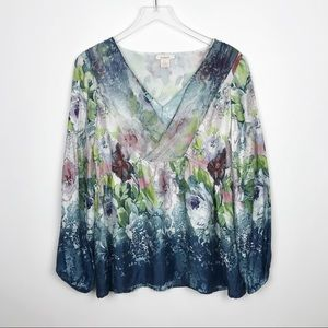 Sundance Silk Floral V Neck Blouse